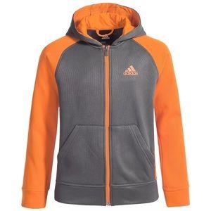 Adidas orange gray zip sweater hoodie climawarm